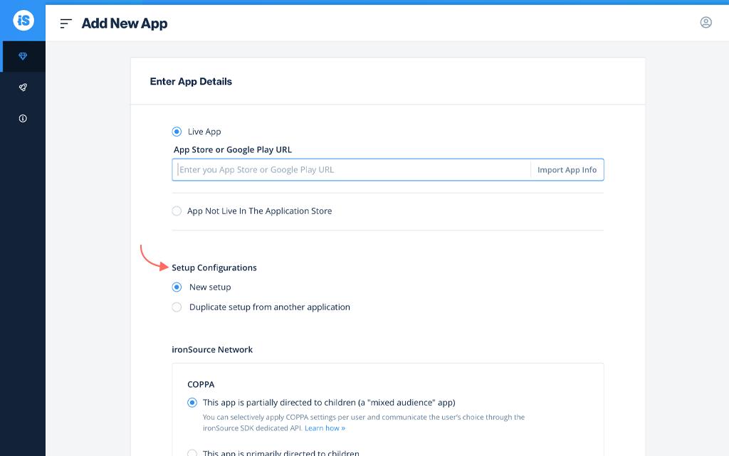 Duplicate app settings or create a new setup