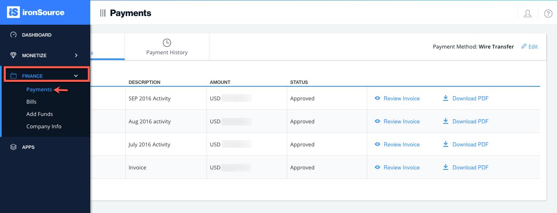 ironsource-platform-payments-page