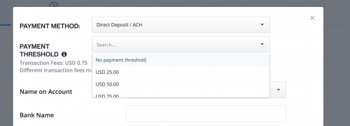 Payment threshold