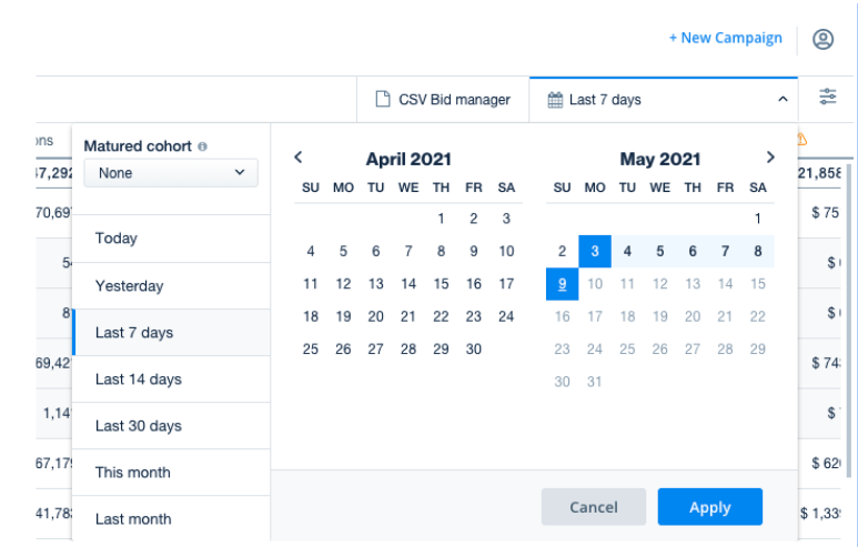Filter by date on the Campaign Management page