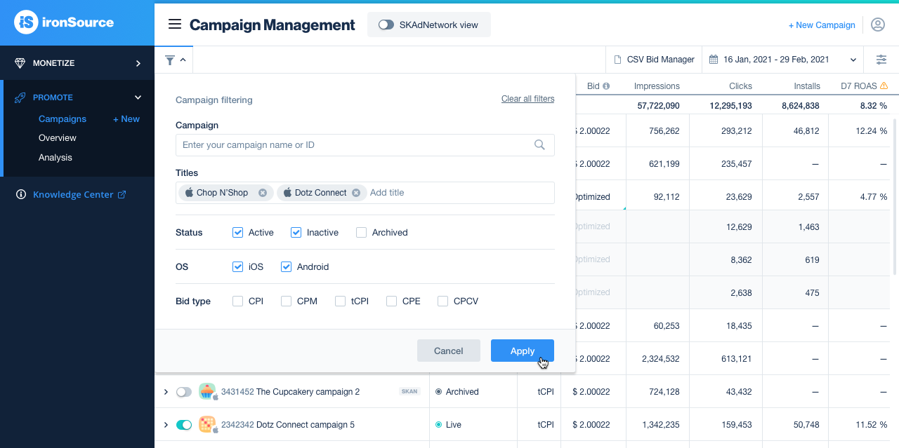 Campaign filtering functionality on Campaign Management page